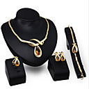 cheap Jewelry Sets-Crystal Jewelry Set - Zircon, Cubic Zirconia Statement, Vintage, Party Include Gold / Orange For / Earrings / Necklace