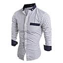 baratos Colares-Homens Camisa Social Temática Asiática Sólido Algodão Colarinho Clássico