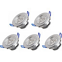 cheap LED Recessed Lights-5pcs 3W 350 lm LED Recessed Lights 3 leds High Power LED Warm White Cold White AC 100-240V