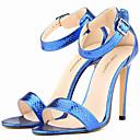 cheap Women's Sandals-Women's Shoes Leatherette Summer Stiletto Heel Black / White / Golden / Leopard / Party & Evening / Party & Evening