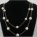cheap Rings-Women's Pearl Long Statement Necklace / Layered Necklace / Pearl Necklace - Pearl Double-layer, Fashion Pearl White Necklace Jewelry For