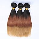 billige Ombré hårforlængelser-3 Bundler Brasiliansk hår Lige / Klassisk Jomfruhår Nuance Menneskehår Vævninger Menneskehår Extensions / Ret