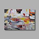 preiswerte Stillleben Gemälde-Hang-Ölgemälde Handgemalte - Abstrakt Modern Fügen Innenrahmen / Gestreckte Leinwand