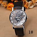baratos Relógios da Moda-Mulheres Relógio de Pulso Gravação Oca Couro Banda Casual / Fashion / Elegante Preta / Marrom