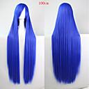 preiswerte Kostümperücke-Synthetische Perücken Glatt Asymmetrischer Haarschnitt Synthetische Haare Natürlicher Haaransatz Blau Perücke Damen Lang Kappenlos Blau