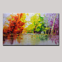 cheap Floral/Botanical Paintings-Oil Painting Hand Painted - Abstract / Landscape Modern Canvas