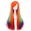 billige Kostymeparykk-Syntetiske parykker Dame Rett / Yaki Rød Asymmetrisk frisyre Syntetisk hår Naturlig hårlinje Rød Parykk Lang Lokkløs Regnbue