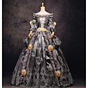 cheap Historical & Vintage Costumes-Rococo Victorian Costume Women's Dress Party Costume Masquerade Gray Vintage Cosplay Lace Linen Satin Prom Long Sleeve Long Length