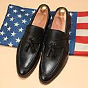 זול נעלי בד ומוקסינים לגברים-בגדי ריקוד גברים דמוי עור אביב / סתיו נוחות נעליים ללא שרוכים שחור / צהוב