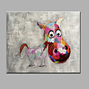 cheap POP Oil Paintings-Oil Painting Hand Painted - Animals Modern Canvas