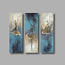 preiswerte Ölgemälde-Hang-Ölgemälde Handgemalte - Abstrakt Abstrakte Porträt Modern Fügen Innenrahmen / Drei Paneele / Gestreckte Leinwand