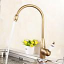 cheap Shower Faucets-Kitchen faucet - Single Handle One Hole Antique Brass Tall / High Arc Centerset Antique