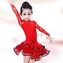 abordables Ropa de Baile para Niños-Baile Latino Vestidos Rendimiento Algodón Licra Encaje Manga Larga Cintura Alta Vestido