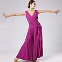 baratos Roupas de Dança Latina-Dança de Salão Vestidos Mulheres Espetáculo Náilon Chinês Pregueado Vestido