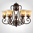cheap Chandeliers-Ecolight 6-Light Candle-style Chandelier Ambient Light Painted Finishes Metal Glass Crystal 110-120V / 220-240V Bulb Not Included / E26 / E27