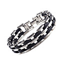 cheap Men's Bracelets-Anklet - Stainless Steel Chain, Double-layer, Fashion Bracelet Black For Wedding / Party / Special Occasion