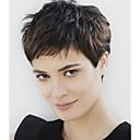 preiswerte Kappenlos-Synthetische Perücken Wellen Kardashian Stil Pixie-Schnitt Kappenlos Perücke Schwarz Schwarz Synthetische Haare Damen Schwarz Perücke Kurz
