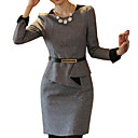abordables Tocados de Fiesta-Mujer Trabajo Simple Vaina Vestido - Peplum / Volante, Un Color Sobre la rodilla