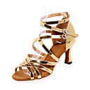 cheap Latin Shoes-Latin Shoes Leatherette Sandal Flared Heel Customizable Dance Shoes Gold / Silver / Performance