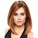hesapli Sentetik Kapsız Peruklar-Sentetik Peruklar Düz Sentetik Saç Kahverengi Peruk Kadın's Orta Bonesiz