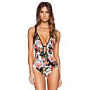 abordables Pijamas Kigurumi-Mujer Muy bajo Escote Arco iris Slips Una Pieza Bañadores - Floral Espalda al Aire M L XL / Sin Soporte