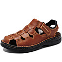 cheap Men's Sandals-Men's Shoes Nappa Leather Spring Summer Fall Comfort Sandals Water Shoes for Casual Outdoor Dress Black Light Brown