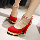 cheap Girls' Dresses-Women's Shoes Leatherette Spring / Summer Chunky Heel Tassel Black / Red / Blue / Wedding