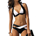 cheap Nail Stickers-Women's Plus Size Halter Neck Bikini - Color Block Black & White, Patchwork Cheeky / Underwire Bra