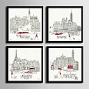 cheap Framed Arts-Framed Canvas Framed Set - Architecture PVC Illustration