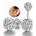 cheap Earrings-Women's Cubic Zirconia Beads Stud Earrings - Sterling Silver, Zircon, Silver White For Wedding / Party / Daily