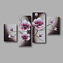 billige Stillebenmalerier-Hang malte oljemaleri Håndmalte - Blomstret / Botanisk Moderne Inkluder indre ramme / Fire Paneler / Stretched Canvas