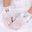 cheap Party Gloves-Elastic Satin / Cotton / Silk Wrist Length Glove Charm / Stylish / Bridal Gloves With Embroidery / Solid