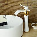baratos Torneiras de Banheiro-Torneira pia do banheiro - Cascata Ti-PVD Conjunto Central Monocomando e Uma Abertura
