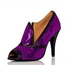 preiswerte Latein Schuhe-Damen Schuhe für den lateinamerikanischen Tanz / Salsa Tanzschuhe Glitzer / Paillette / Satin Sandalen / Absätze Paillette / Glitter / Reißverschluss Maßgefertigter Absatz Maßfertigung Tanzschuhe