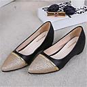 baratos Tênis Feminino-Mulheres Sapatos Courino Primavera / Outono Conforto Sem Salto Branco / Preto / Prata