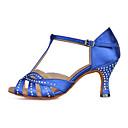 baratos Perucas Sintéticas-Mulheres Balé / Sapatos de Dança Latina / Sapatos de Jazz Cetim Sandália / Salto / Têni Pedrarias / Presilha / Vazados Salto Carretel