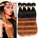 cheap Ombre Hair Weaves-Brazilian Hair Straight Virgin Human Hair Ombre Hair Weaves 4 Bundles 8-26 inch Human Hair Weaves Odor Free / Silky / Natural Black / Medium Auburn Human Hair Extensions