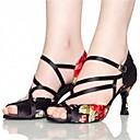 baratos Sapatos de Dança Latina-Mulheres Sapatos de Dança Latina / Sapatos de Jazz / Sapatos de Salsa Cetim Sandália / Salto Flor de Cetim / Presilha Salto Personalizado