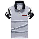 baratos Brincos-Homens Polo Fashion, Listrado Algodão Colarinho de Camisa