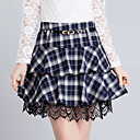 cheap Zentai Suits-Women's Plus Size Cotton A Line Skirts - Plaid Lace Layered