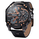 cheap Military Watches-Men's Quartz Wrist Watch Military Watch Calendar / date / day Dual Time Zones Leather Band Luxury Black Brown
