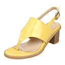 baratos Sandálias Femininas-Mulheres Sapatos Courino Verão Chanel / Rasteirinhas Salto Robusto Prata / Amarelo / Rosa claro