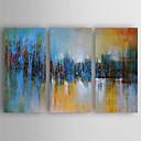 baratos Impressões-Pintura a Óleo Pintados à mão - Abstrato Modern Incluir moldura interna / 3 Painéis / Lona esticada
