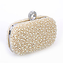 cheap Clutches & Evening Bags-Women's Bags Satin / Metal Evening Bag Beading / Imitation Pearl / Crystal / Rhinestone Solid Colored Black / Beige / Champagne / Wedding Bags / Wedding Bags
