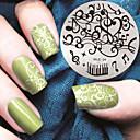 billige Moteøreringer-1 pcs Stampplate Mal Stilig Design Neglekunst Manikyr pedikyr Stilfull / Mote Daglig / stempling Plate / Metall