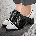 baratos Tênis Feminino-Mulheres Sapatos Couro Envernizado / Courino Primavera / Outono Salto Robusto / Salto de bloco Cadarço Branco / Preto