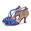 abordables Zapatos de Baile Latino-Mujer Latino Brillantina Satén Sandalia Zapatilla Tacones Alto Rendimiento Purpurina Hebilla Poroso Tacón Carrete Azul marino Negro Rojo