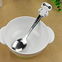 cheap Dinnerware-Cartoon Baymax Design Silicone Handle Stainless Steel Spoon(White)