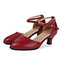 preiswerte Schuhe für Zeitgenössischen Tanz-Damen Schuhe für modern Dance / Ballsaal Leder Absätze Schnalle Kubanischer Absatz Keine Maßfertigung möglich Tanzschuhe Rot / Silber / Gold