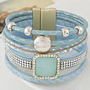 preiswerte Modische Halsketten-Mehrschichtig Lederarmbänder - Leder Party, Büro, Freizeit Armbänder Schwarz / Blau / Rosa Für Weihnachts Geschenke